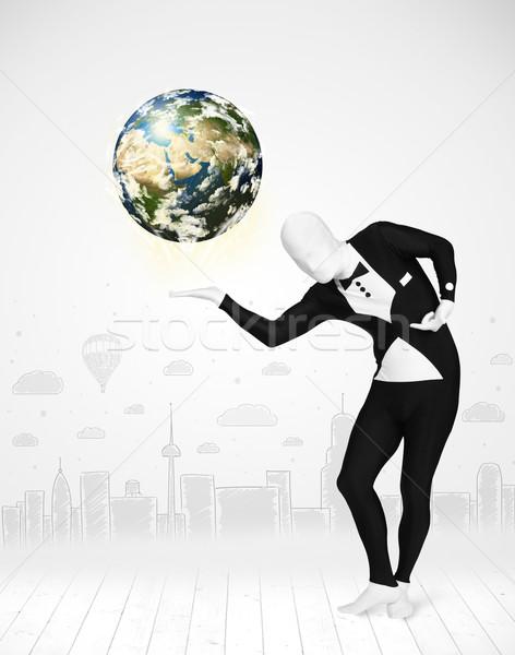 Adam takım elbise dünya gezegeni komik Stok fotoğraf © ra2studio