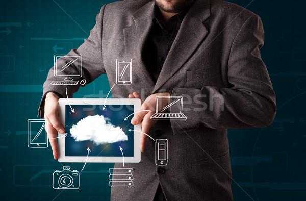 üzletember mutat kézzel rajzolt felhő alapú technológia fiatal üzlet Stock fotó © ra2studio