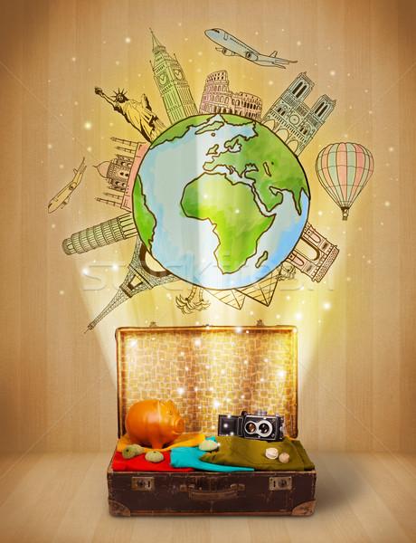 Bagażu podróży około świat ilustracja Zdjęcia stock © ra2studio