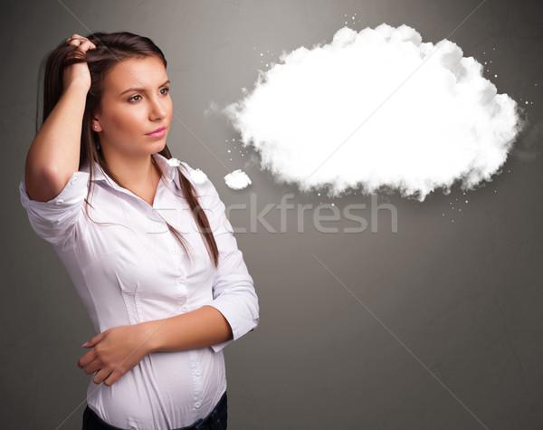 Foto stock: Bastante · senhora · pensando · nuvem · discurso · balão · de · pensamento