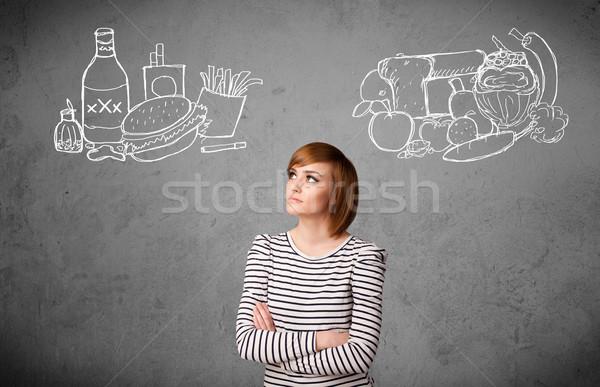女性 立って 健康 不健康 食品 かなり ストックフォト © ra2studio