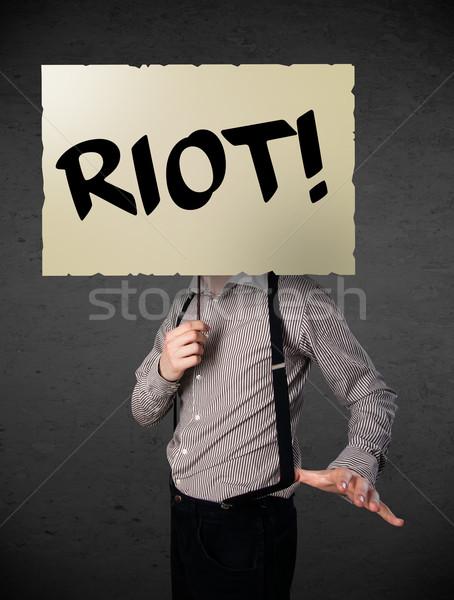Işadamı protesto imzalamak gösteri tahta Stok fotoğraf © ra2studio