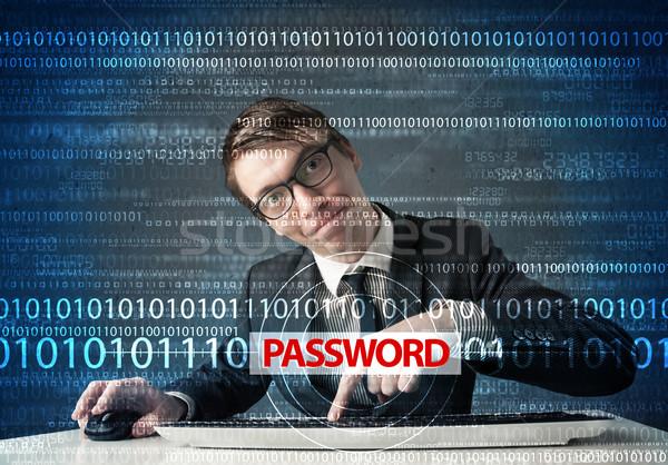 Jungen Geek Hacker Diebstahl Kennwort futuristisch Stock foto © ra2studio