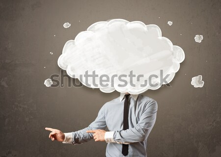 Photo stock: Homme · d'affaires · réseau · cloud · tête · carte · technologie