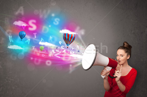 Girl shouting into megaphone and abstract text and balloons come Stock photo © ra2studio