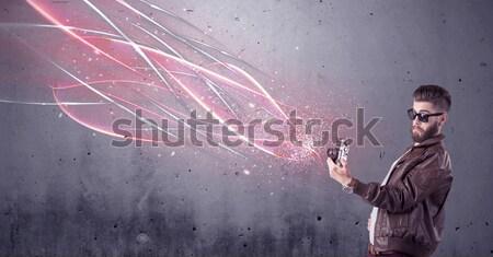Elegante cámara brillante líneas elegante Foto stock © ra2studio