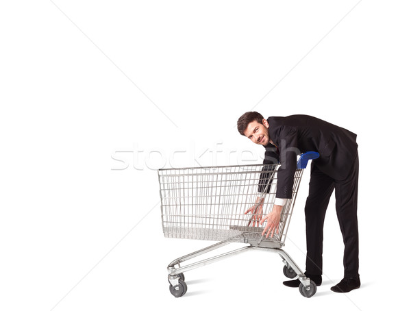 Stock photo: Businessman with shopping cart