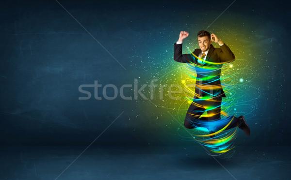 Сток-фото: возбужденный · деловой · человек · прыжки · энергии · линия