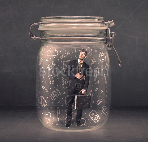 Zdjęcia stock: Człowiek · biznesu · szkła · jar · mediów · ikona