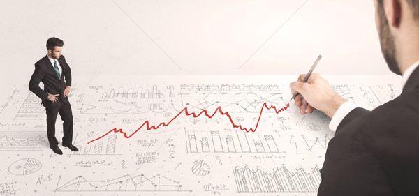 Business man looking at red arrow drawn by a hand Stock photo © ra2studio
