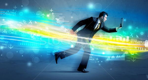 üzletember fut magas tech hullám berendezés Stock fotó © ra2studio