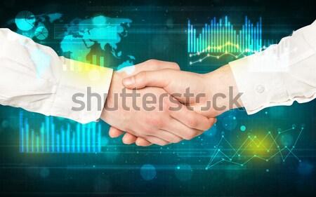 Kézfogás diagramok táblázatok férfi terv háttér Stock fotó © ra2studio