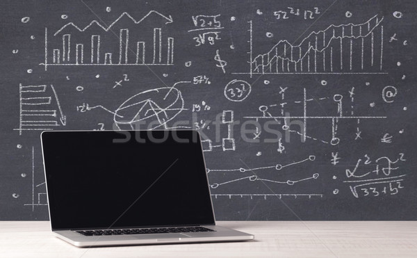 Financiële business charts kantoor laptop elegante Stockfoto © ra2studio