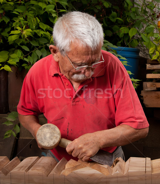 woodcarver working with mallet and chisel 10 Stock photo © ra2studio