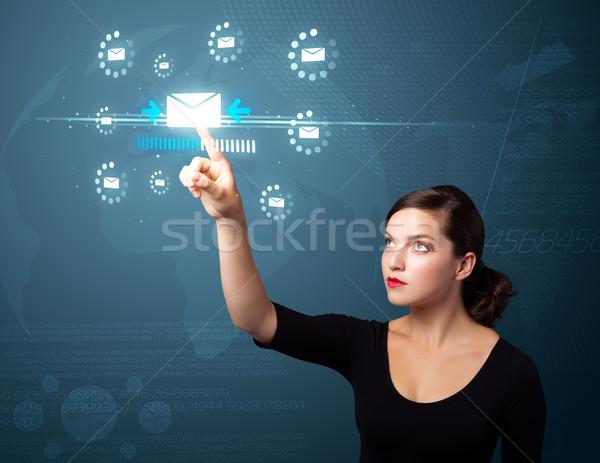 Empresária virtual mensagens tipo ícones Foto stock © ra2studio