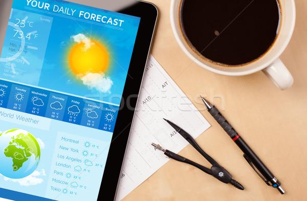 Arbeitsplatz Wetter Vorhersage Tasse Stock foto © ra2studio