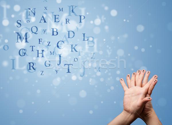 Gelukkig vingers naar mengsel bokeh Stockfoto © ra2studio