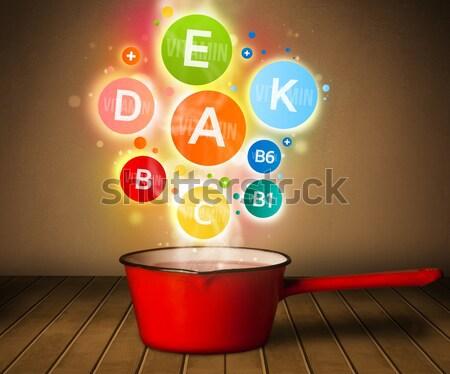 Colorido vitaminas fora panela alimentação saudável metal Foto stock © ra2studio