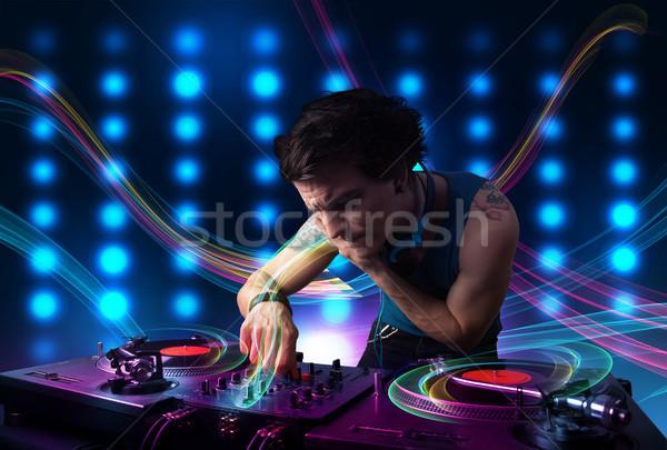 Genç kayıtlar renkli ışıklar çekici parti Stok fotoğraf © ra2studio