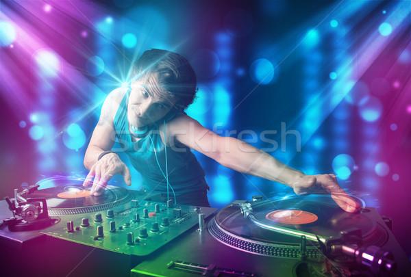 Zene klub kék lila fények fiatal Stock fotó © ra2studio