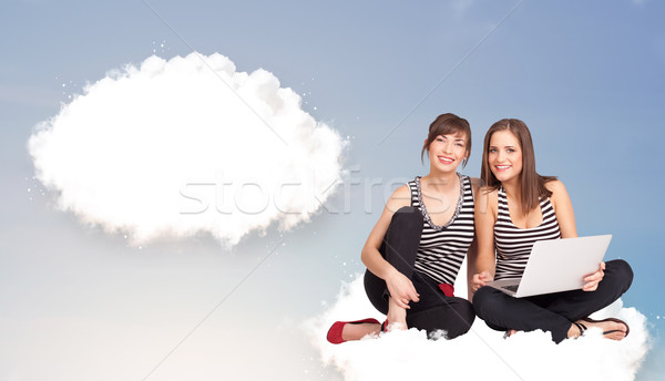 Stock photo: Young girls sitting on cloud and thinking of abstract speech bub