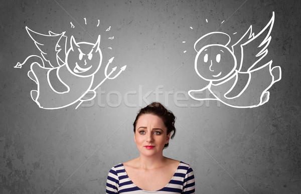 женщину Постоянный ангела дьявол Сток-фото © ra2studio