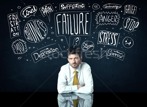 Depressed businessman sitting under trouble thought boxes Stock photo © ra2studio