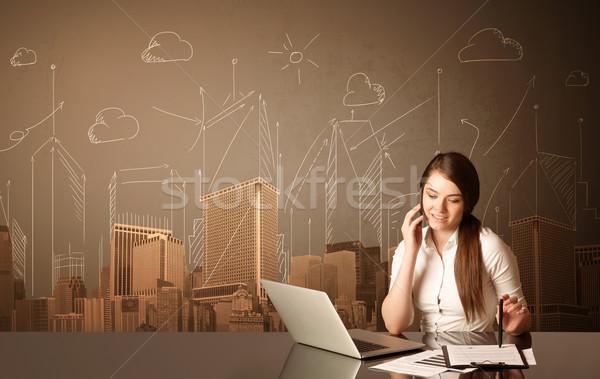 Stockfoto: Zakenvrouw · gebouwen · vergadering · zwarte · tabel · papier
