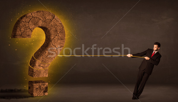 Photo stock: Homme · d'affaires · grand · solide · interrogation · pierre