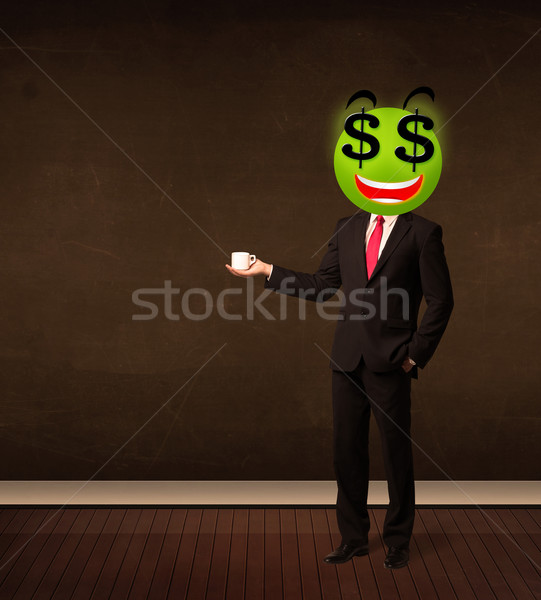 Homem cifrão rosto sorridente empresário dinheiro sorrir Foto stock © ra2studio