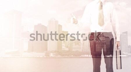 ビジネスマン 立って 景観 光 男 ストックフォト © ra2studio
