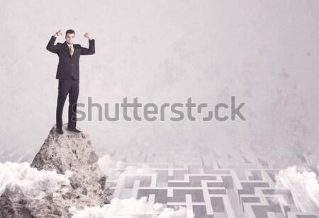 ストックフォト: ビジネスマン · 崖 · 迷路 · 迷路