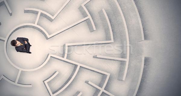 Сток-фото: деловой · человек · ловушке · лабиринт · путать · фон