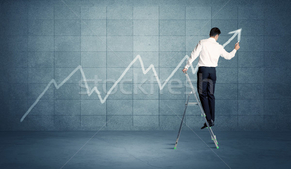 Man drawing line from ladder Stock photo © ra2studio