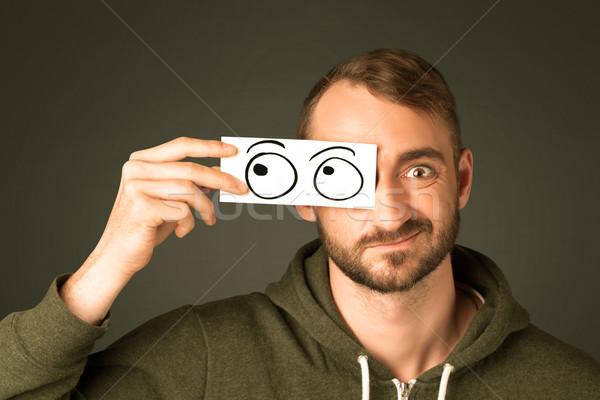 Bobo homem olhando olho Foto stock © ra2studio