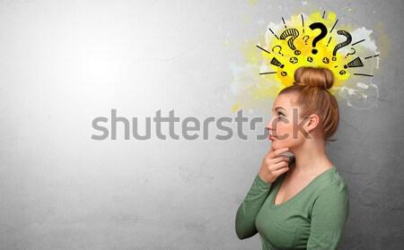 Ekstremalnych fryzura młoda kobieta portret vintage dziewczyna Zdjęcia stock © ra2studio
