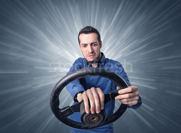 Homem volante moço preto branco Foto stock © ra2studio