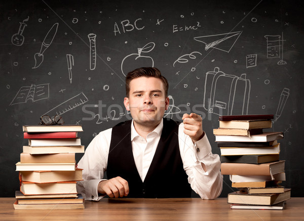 учитель Снова в школу страстный молодые сидят школы Сток-фото © ra2studio