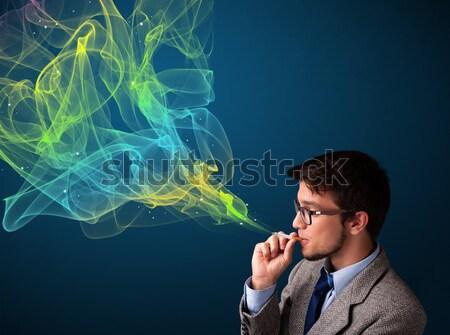 Photo stock: Bel · homme · fumer · cigarette · coloré · fumée · élégant