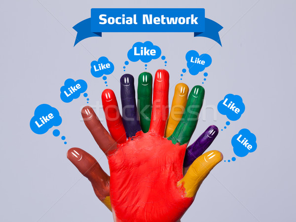 Colorful happy finger smileys with social network sign and like bubbles on grey background Stock photo © ra2studio