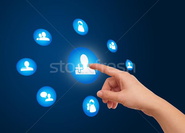 Stock fotó: Kéz · kisajtolás · közösségi · háló · ikon · nő · üzlet
