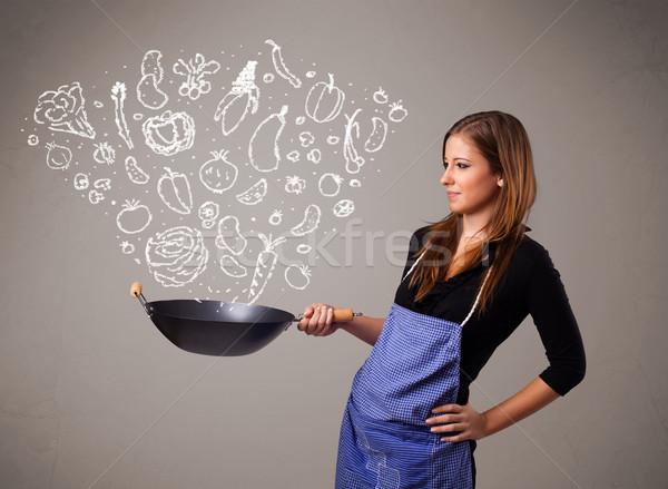 Foto stock: Mujer · cocina · hortalizas · bastante · dama · naturaleza