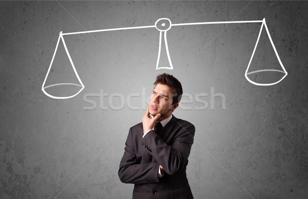Stock photo: Businessman taking a decision