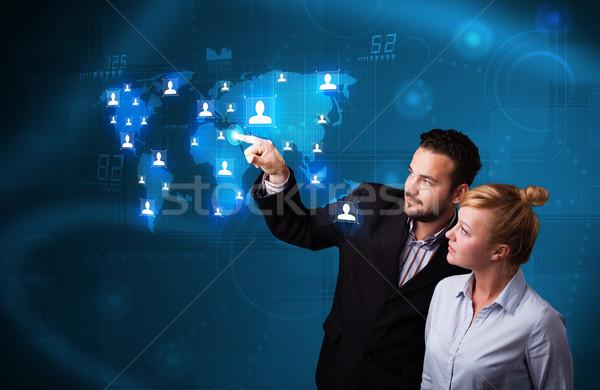 Red social mapa feliz negocios Foto stock © ra2studio
