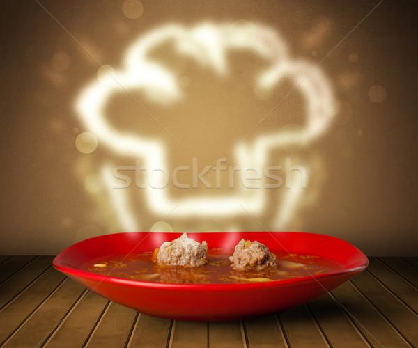 Bowl of soup with chef cook hat steam illustration Stock photo © ra2studio