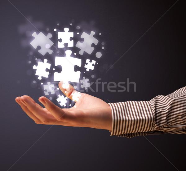 Puzzle parçaları el işadamı iş Stok fotoğraf © ra2studio