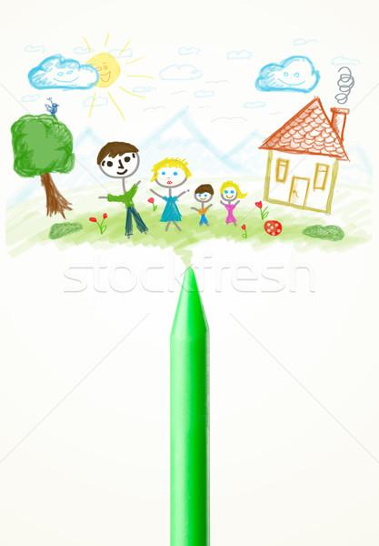 Zsírkréta közelkép rajz család színes festék Stock fotó © ra2studio
