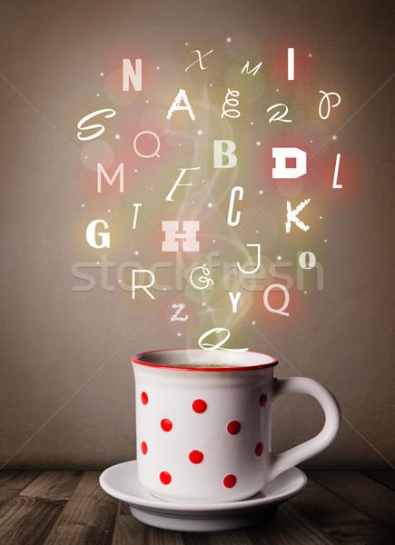 чашку кофе красочный письма продовольствие аннотация Сток-фото © ra2studio