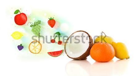 Farbenreich Früchte Hand gezeichnet illustriert weiß Essen Stock foto © ra2studio