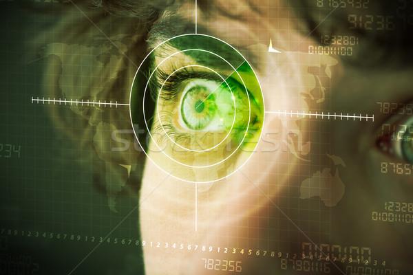 Modern man with cyber technology target military eye Stock photo © ra2studio